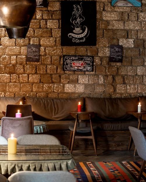 Ресторан с кожаными диванами на стене Бесплатные Фотографии