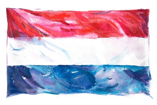 水彩で描かれたオランダの旗 Premium写真