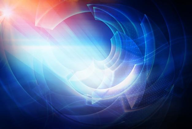 光線と太陽フレアとデジタルの抽象的な技術の背景 Premium写真