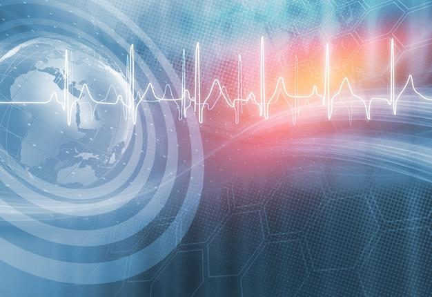 ハートビートグラフと医療の抽象的な背景 Premium写真