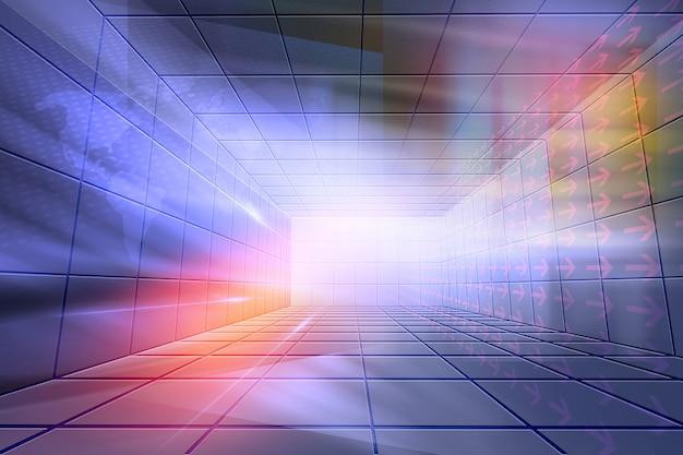 未来的なハイテクで囲まれたスタジオの背景 Premium写真