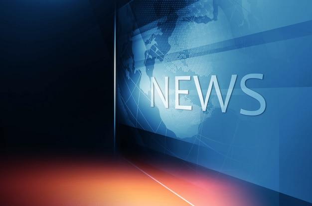 Земной шар внутри большого плоского экрана телевизора с текстом новостей Premium Фотографии