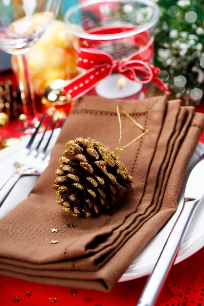 クリスマステーブルの場所の設定 Premium写真