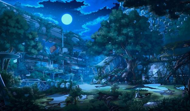 Фэнтези заброшенный город - ночь. Premium Фотографии