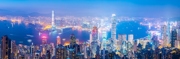 Городской пейзаж гонконга и архитектурный ландшафт Premium Фотографии