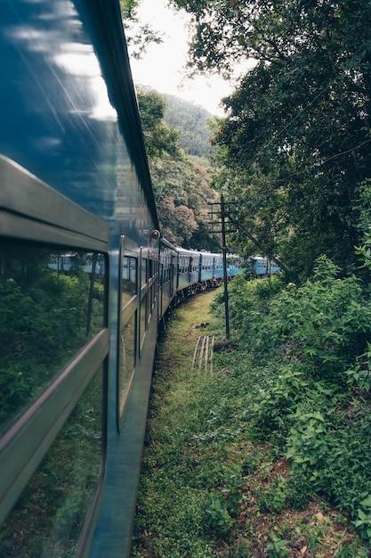 Синий поезд пересекает чайную плантацию в азии Premium Фотографии