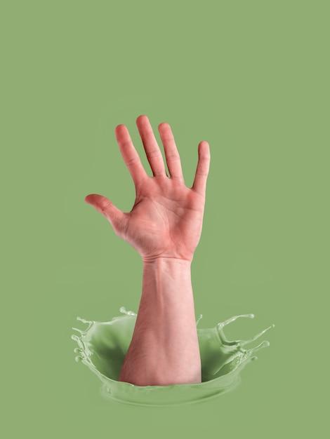 ペイントの男性の手。投票の概念。 Premium写真
