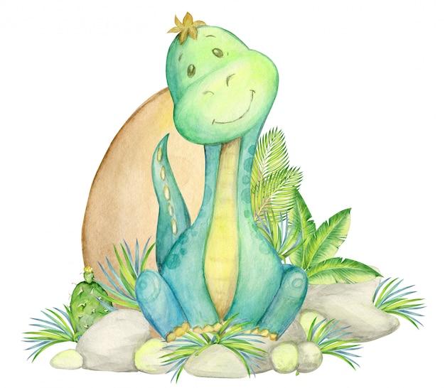 Динозавр, детская иллюстрация. акварель милый динозавр Premium Фотографии
