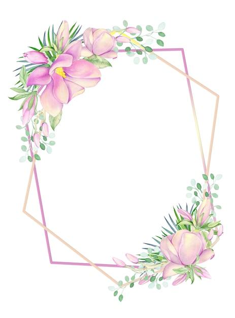 フレームはマグノリアの水彩画の花で飾られています。 Premium写真