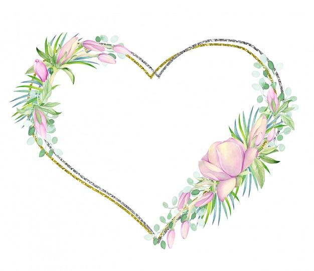 フレームはハートの形をした金と銀です。水彩マグノリアの花で飾られました。 Premium写真