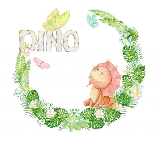 Милый динозавр сидит. в окружении тропических растений, цветов, бабочек. акварельный венок. Premium Фотографии
