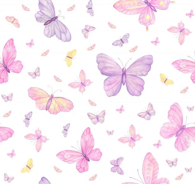 Бабочки на белом бесшовные модели Premium Фотографии