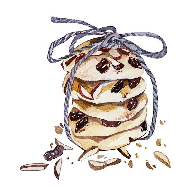 分離されたクッキー手描き水彩イラスト Premium写真