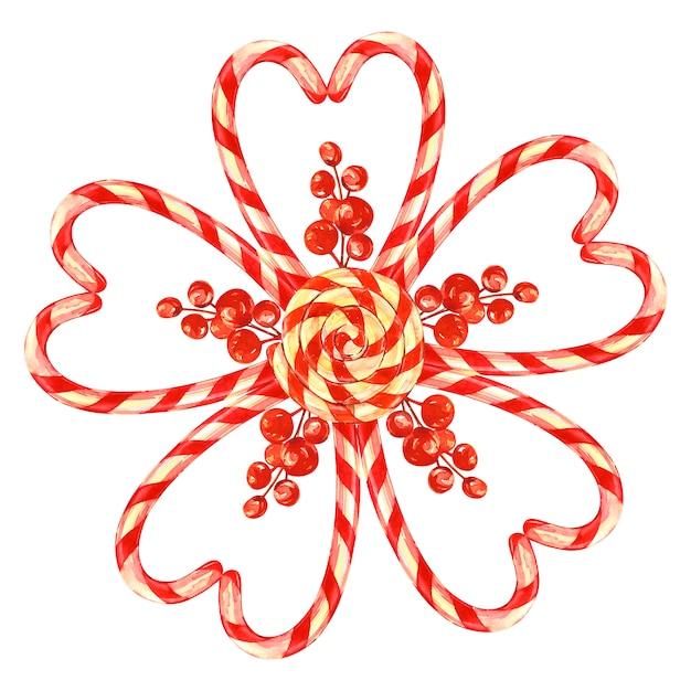 ロリポップ、クリスマスキャンディーと弓でレイアウトされた花。棚を見て水彩イラスト Premium写真