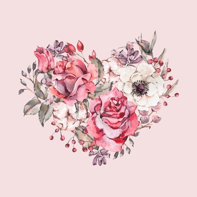 赤いバラの装飾的なヴィンテージ水彩花ハート Premium写真