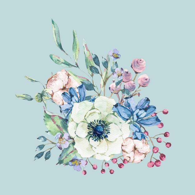 アネモネ、野生の花、綿で装飾的なビンテージ水彩ナチュラルグリーティングカード Premium写真