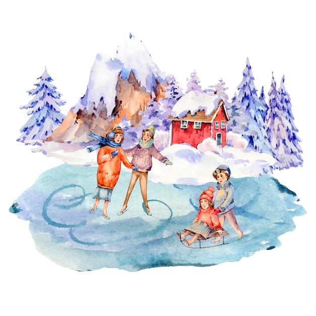 Старинный акварельный набор зимних людей на санках, катание на коньках на катке. снег на свежем воздухе Premium Фотографии
