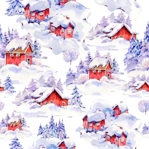 水彩クリスマスシームレスパターン、スカンジナビアスタイルの雪で覆われた冬の赤い家 Premium写真