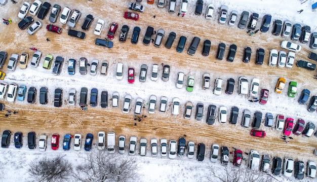 上から車で駐車 Premium写真
