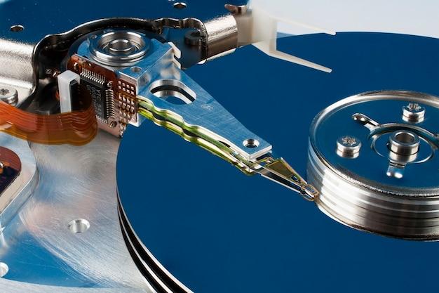 ハードディスクのクローズアップの断片 Premium写真