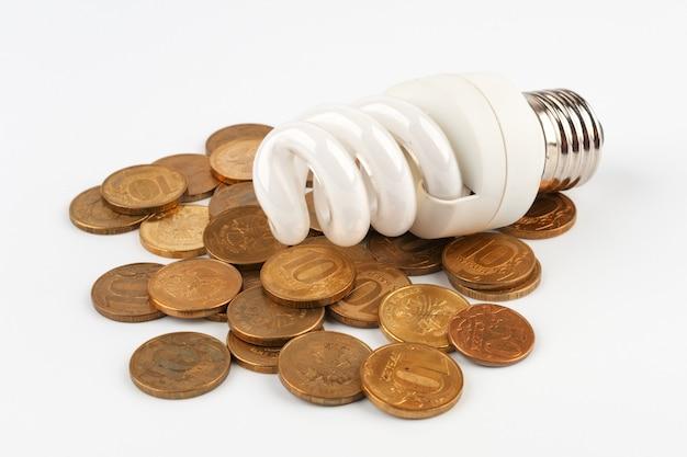 コインの上に横たわる電球 Premium写真