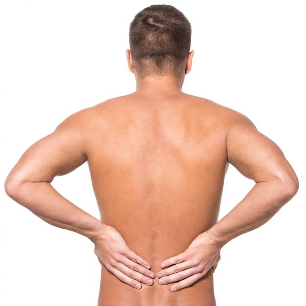 背中の痛みを持つ男 無料写真
