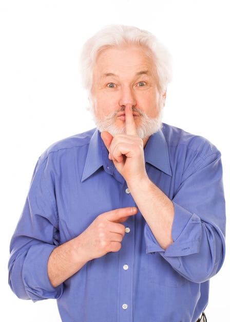 唇に指で老人 無料写真