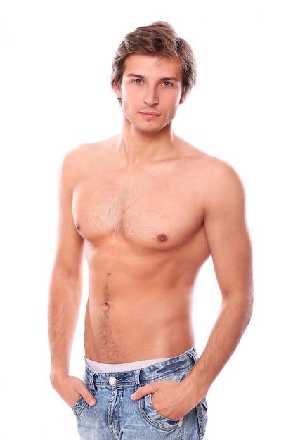 上半身裸の男性モデル 無料写真