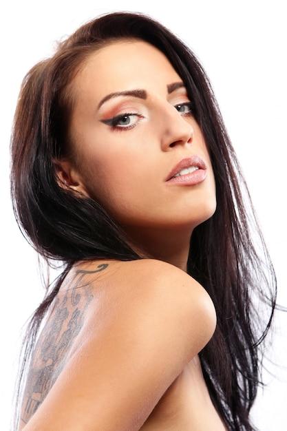 白の美しい若い女性 無料写真