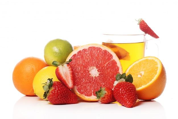 新鮮な果物とお茶 無料写真