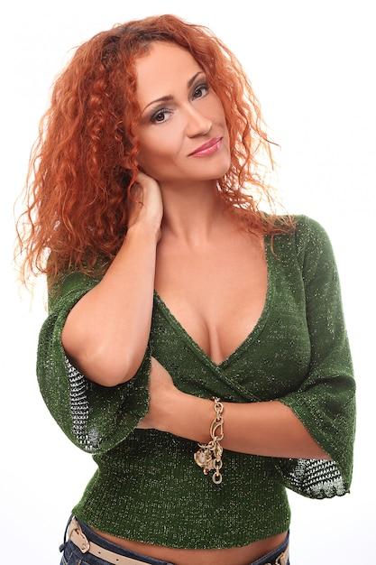 赤毛の女性の肖像画 無料写真