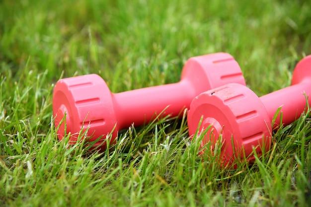 草の上のピンクの女性のダンベル 無料写真