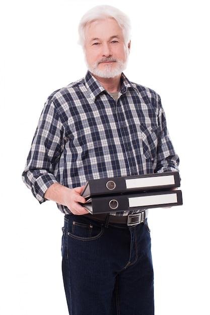 ケースを持つハンサムな老人 無料写真