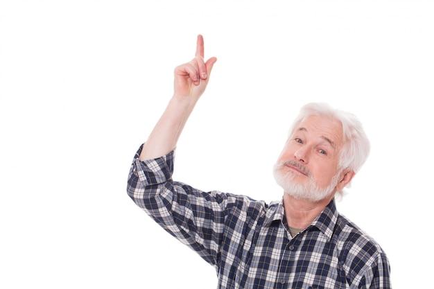 Пожилой мужчина показывает что-то Бесплатные Фотографии
