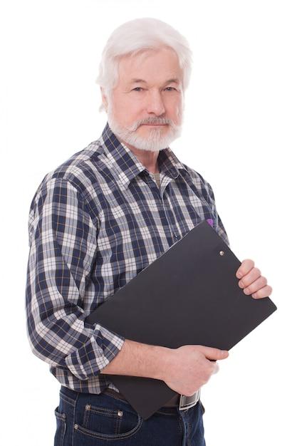 フォルダーを持つハンサムな老人 無料写真