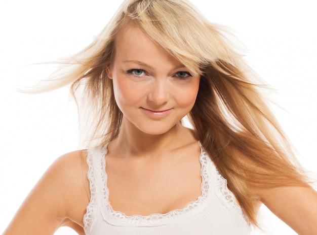 若い魅力的な女性が分離ポーズ 無料写真