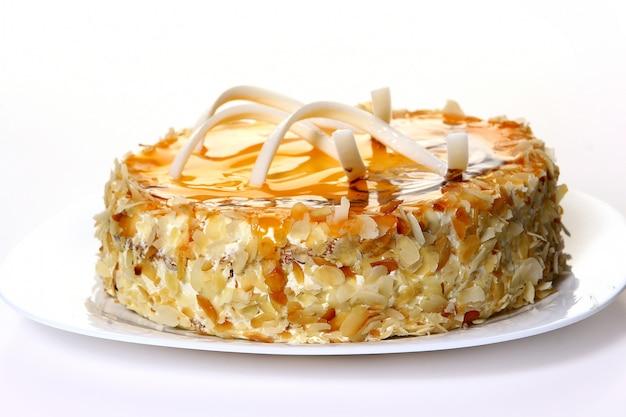 ホワイトチョコレートとデザートフルーツケーキ 無料写真
