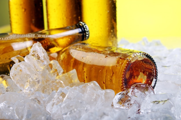 氷と冷たい新鮮なビールのボトル 無料写真