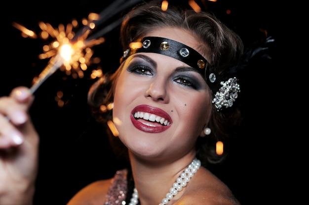 花火のパーティー女性の手の肖像画 無料写真