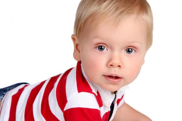 Маленький забавный ребенок на белом Бесплатные Фотографии