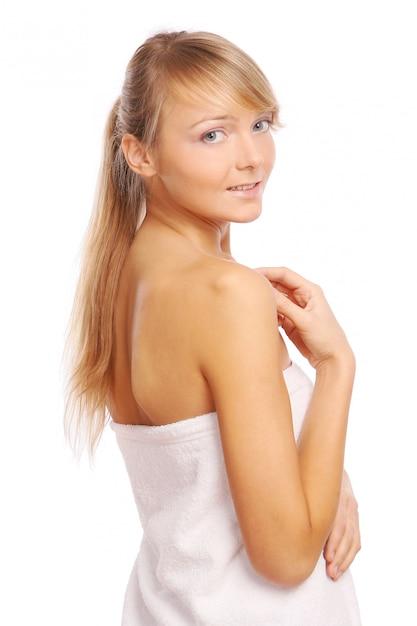 Молодая и красивая женщина на белом Бесплатные Фотографии