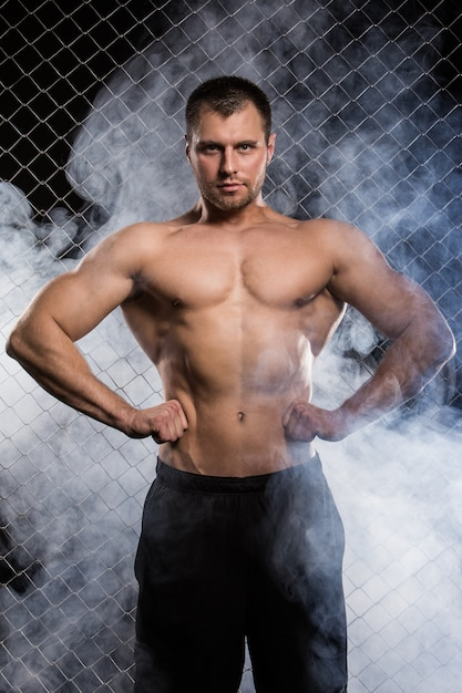 フェンスの上の強い男 無料写真