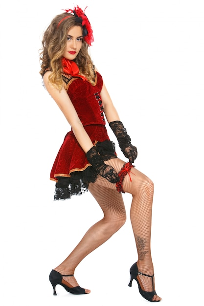 バーレスク。かかとの魅力的なダンサー 無料写真