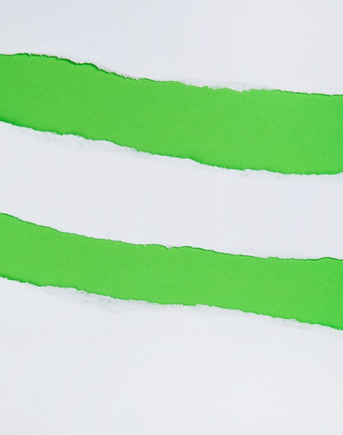 緑の背景に破れた紙 Premium写真