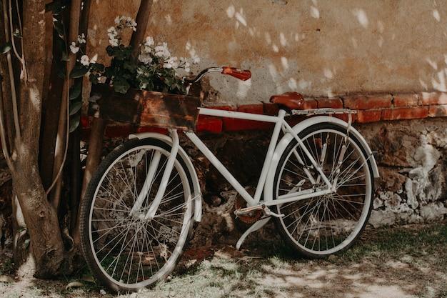 Старинный велосипед припаркован на стене Premium Фотографии
