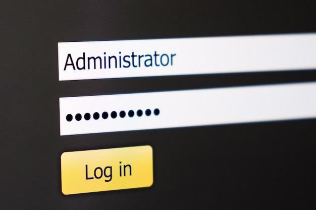 画面上のログインとパスワードのフィールド Premium写真