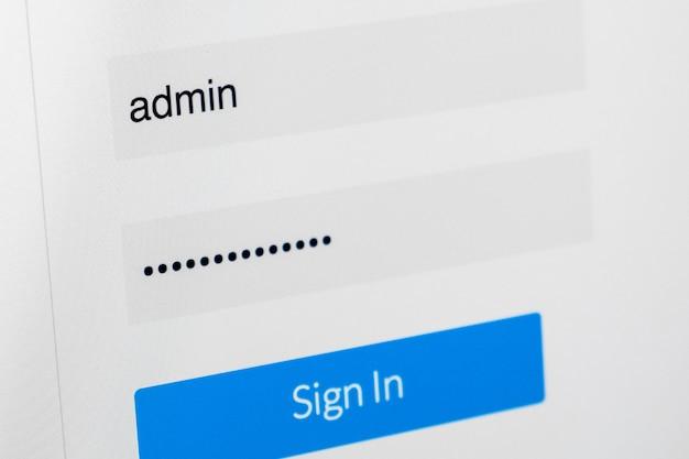 Экран входа в систему. имя пользователя и пароль на экране компьютера Premium Фотографии