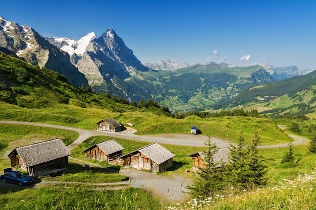 Красивые идиллические горы пейзаж с загородным домом летом, альпы, швейцария Premium Фотографии