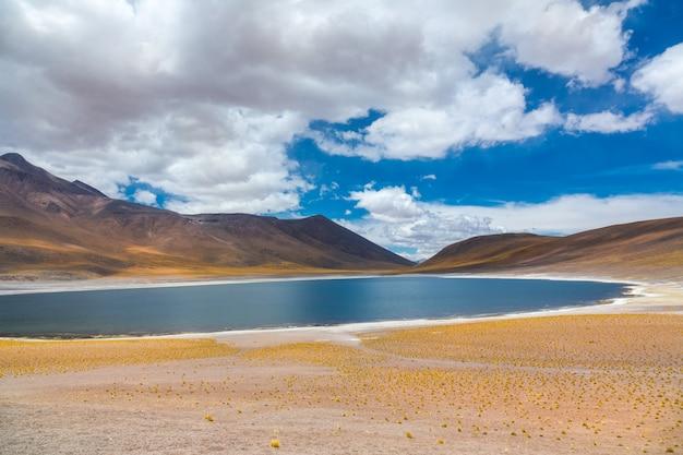 アタカマアルティプラナ砂漠、ラグナミカンティ塩湖と山の風景、ミニケ、チリ、南アメリカ Premium写真