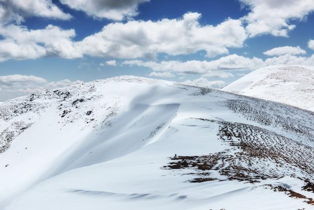 カルパチア山脈国立公園の山脈を越えたカラフルな春の日。ウクライナ、ヨーロッパ。 Premium写真